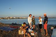 BBQ Faro met landing vliegtuigen op de achtergrond