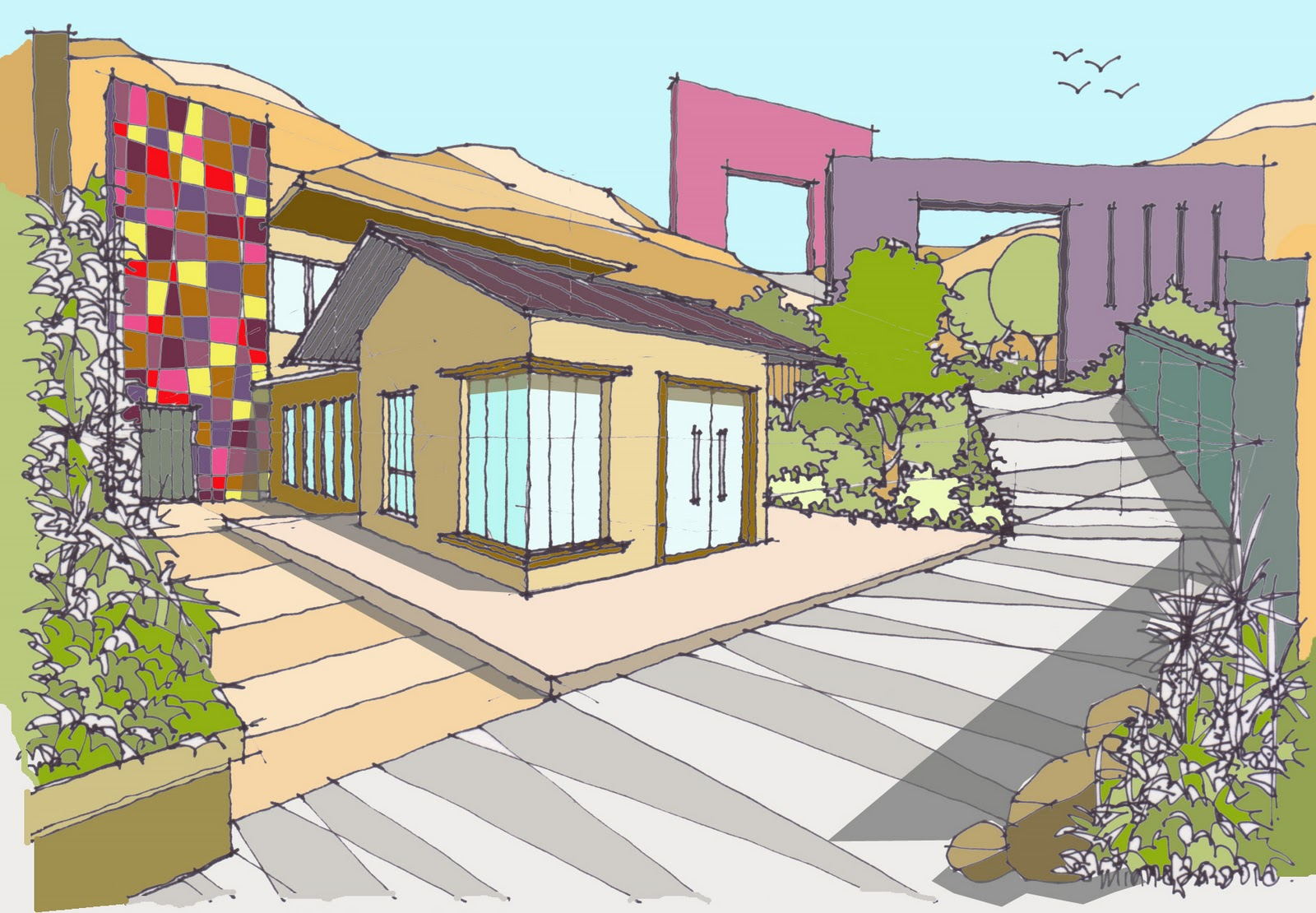 how to draw a house with garden