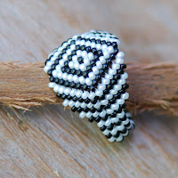 Zebra - Beaded Ring
