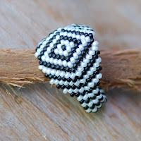 Zebra - Beaded Ring