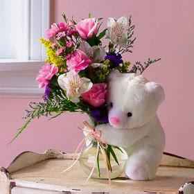 Цветочный декор, мишка