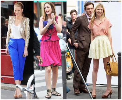 синее штаны, блестящий пиджак, розовое платье, коричневый костюм, розовая блуза