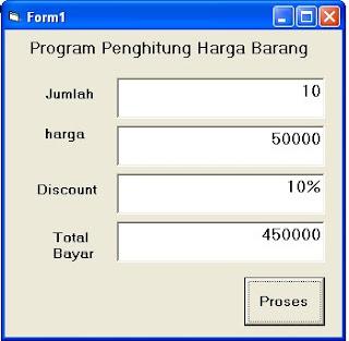 program penghitung harga barang dengan VB 6.0