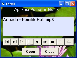 Hasil program aplikasi mp3 player dengan vb 60