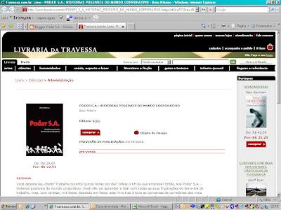 Pré-Venda PODER S.A. na Livraria da Travessa!!!