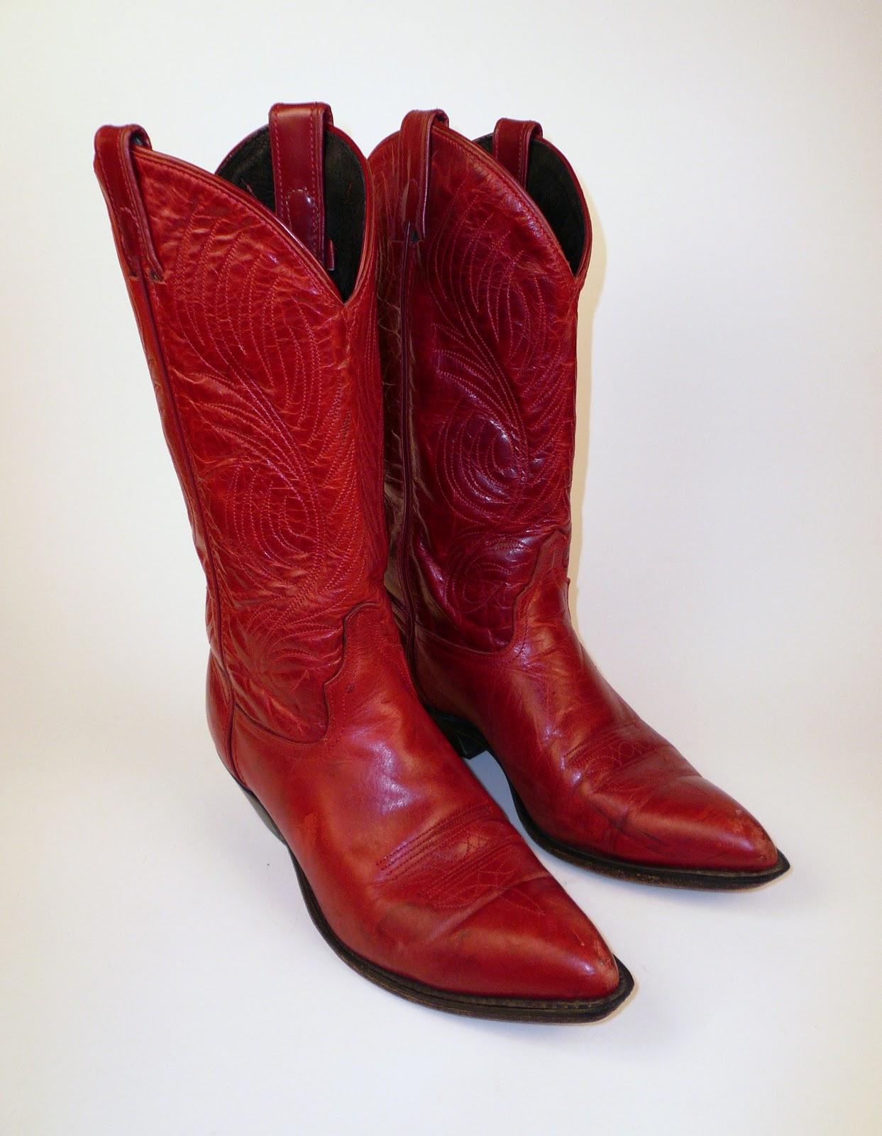 New Womens Classic Red Western Leather Cowboy Cowgirl Boots Rhinestones