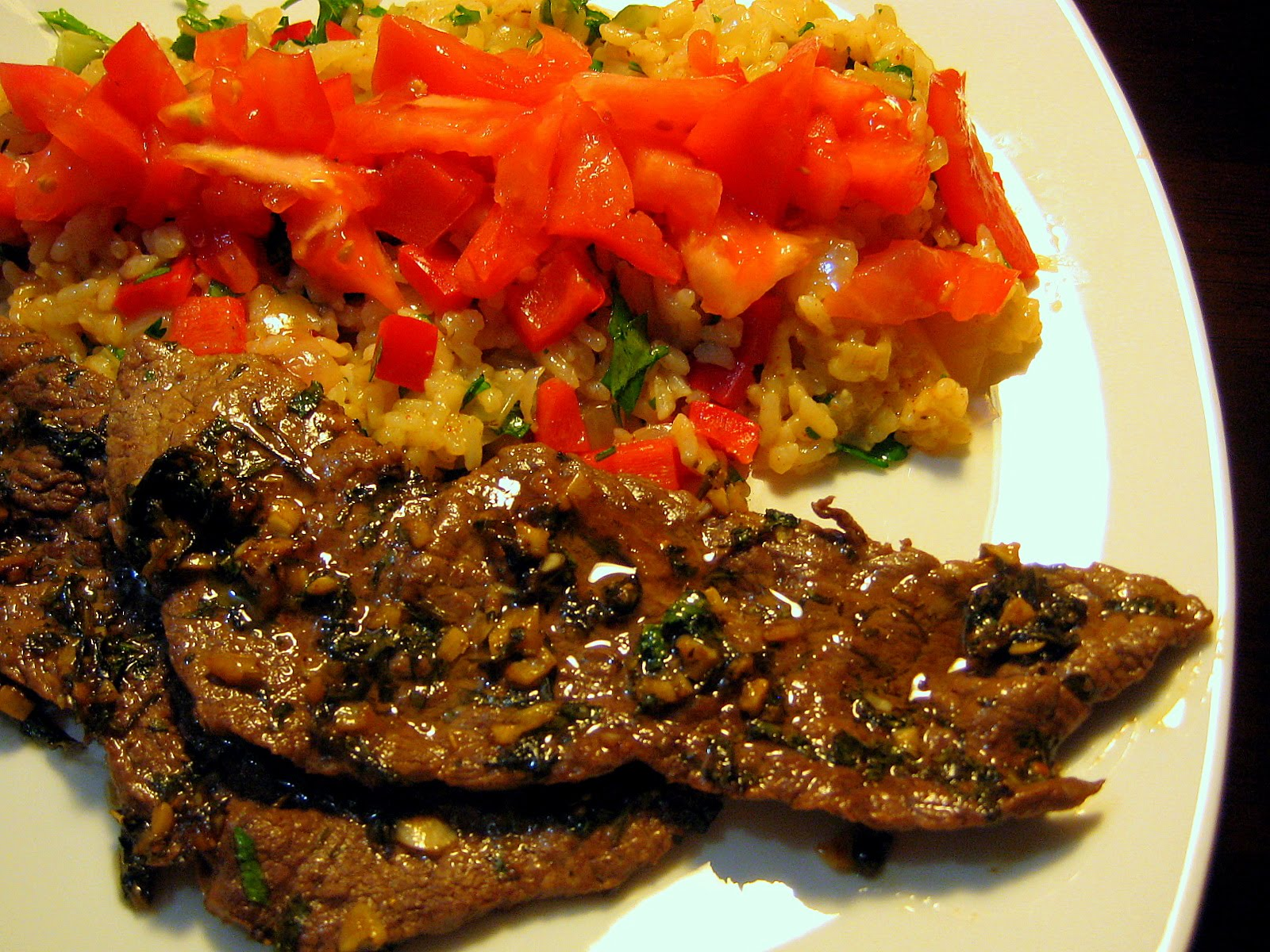 CHIMICHURRI STEAK WITH MEXICAN RICE