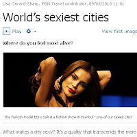 Istanbul and Turkish model Ebru Salli featured on MSN UK's World's Sexiest Cities