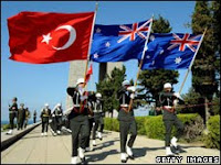 Flags on Anzac Day in Australia
