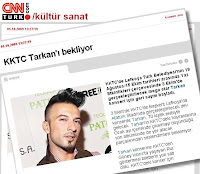 CNN Turk reports on Tarkan's scheduled 2009 October Cyprus show