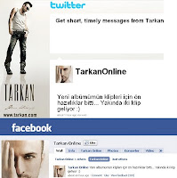 Screencap of TarkanOnline tweets and Facebook messages