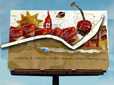 billboard of the walker cherry sculpture made of grain belt beer packaging