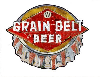 grain belt logo made up of cut up grain belt packaging