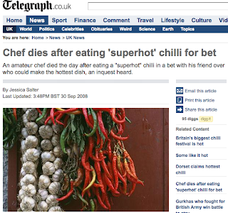 Chef Dies After Eating Superhot Chilli for Bet