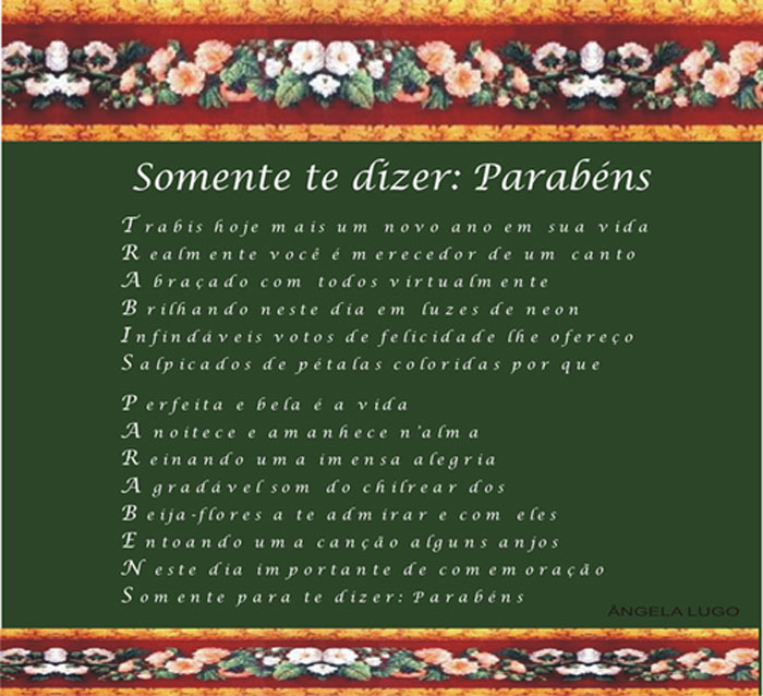 SOMENTE TE DIZER: PARAB�NS     (TRABIS)
