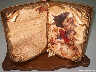 Manualidades paso a paso libro envejecido pintado con pincel - Como hacer un libro antiguo ...