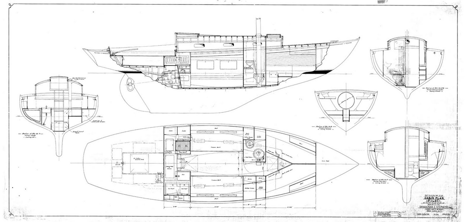 Sparkman stephens pilot class design 539 for 539 plan