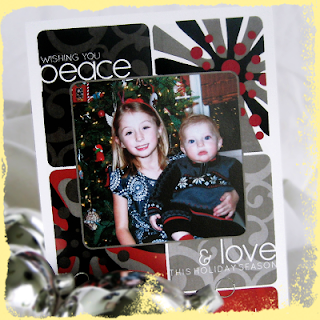 custom scroll snowflake peace and love holiday card