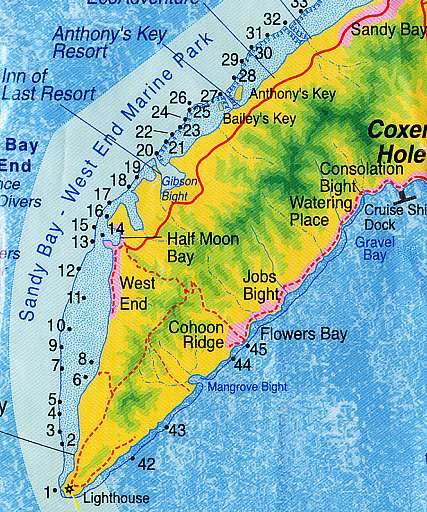 Barediver travel and scuba agency the reef house in - Roatan dive sites ...