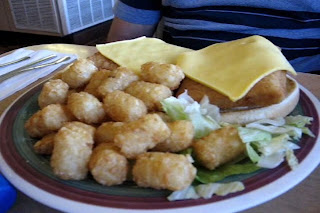 JandDs Double Fish Sandwich with Tater Tots