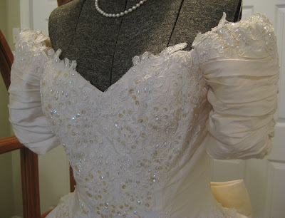 Silk Wedding Gown on Cider Antiques    Silk Wedding Gown And May Flowers