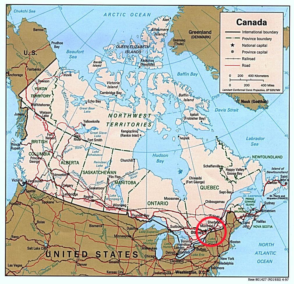Le voyage à travers canada: géographie