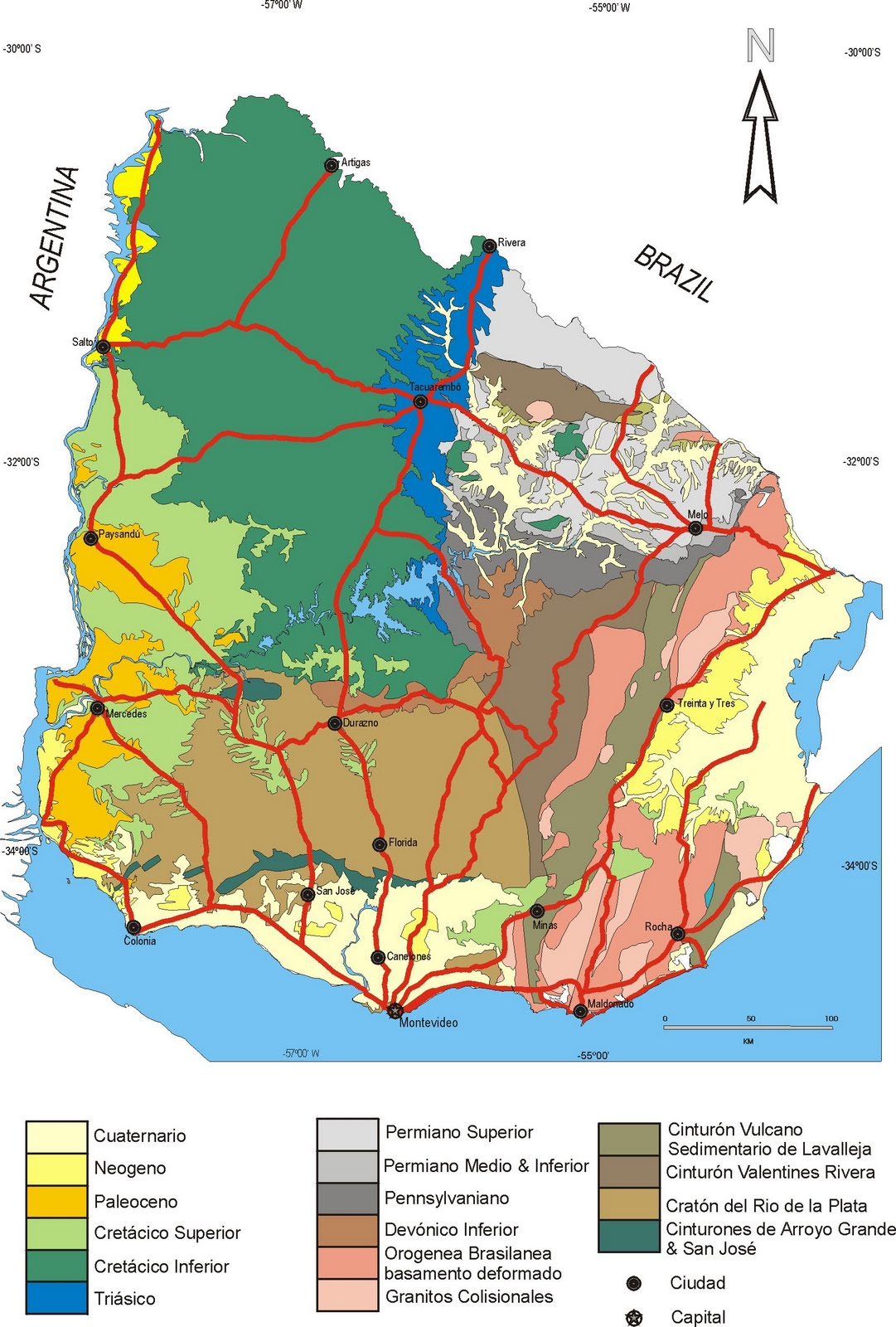impressum - geological map of uruguay