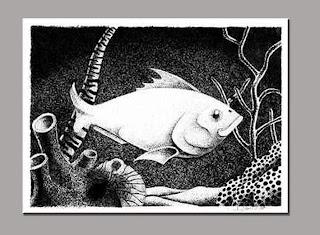 bico de pena - nanquim sobre papel - série peixes