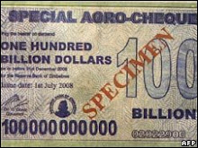 Quadrillion Dollar Bill pf Zimbabwe