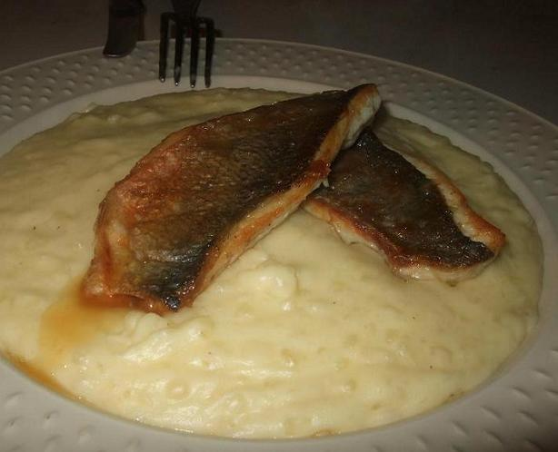 Perfectly cooked sea bream on lumpy cassava mash