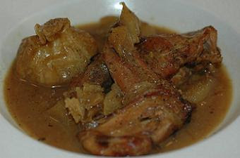 Braised rabbit with a whole head of garlic