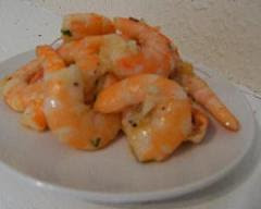 Sautéed prawns in a garlic, butter and chive sauce