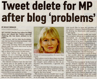Bedfordshire on Sunday 23May 2010. Nadine Dorries explains why she has closed her blog and smears Tim Ireland...again