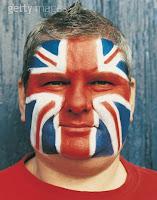 Bandera inglesa pintada en una cara