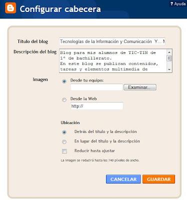Pantalla Configurar cabecera blog