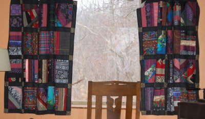 Patchwork window quilts, west window