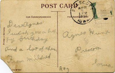 1922 Birthday postcard--address and message