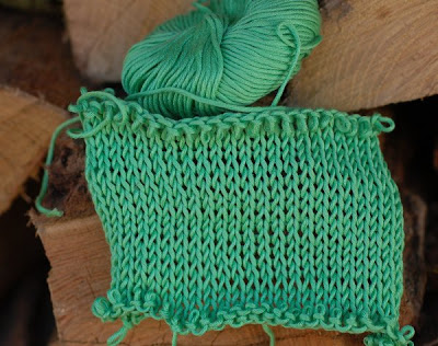 knitted swatch--spring green cotton