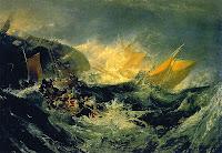Naufragio de un carguero, óleo sobre lienzo (172,7 x 241,2 cm) de Joseph Mallord William Turner (1805)