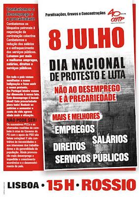 8 de Julho, dia Nacional de protesto e luta
