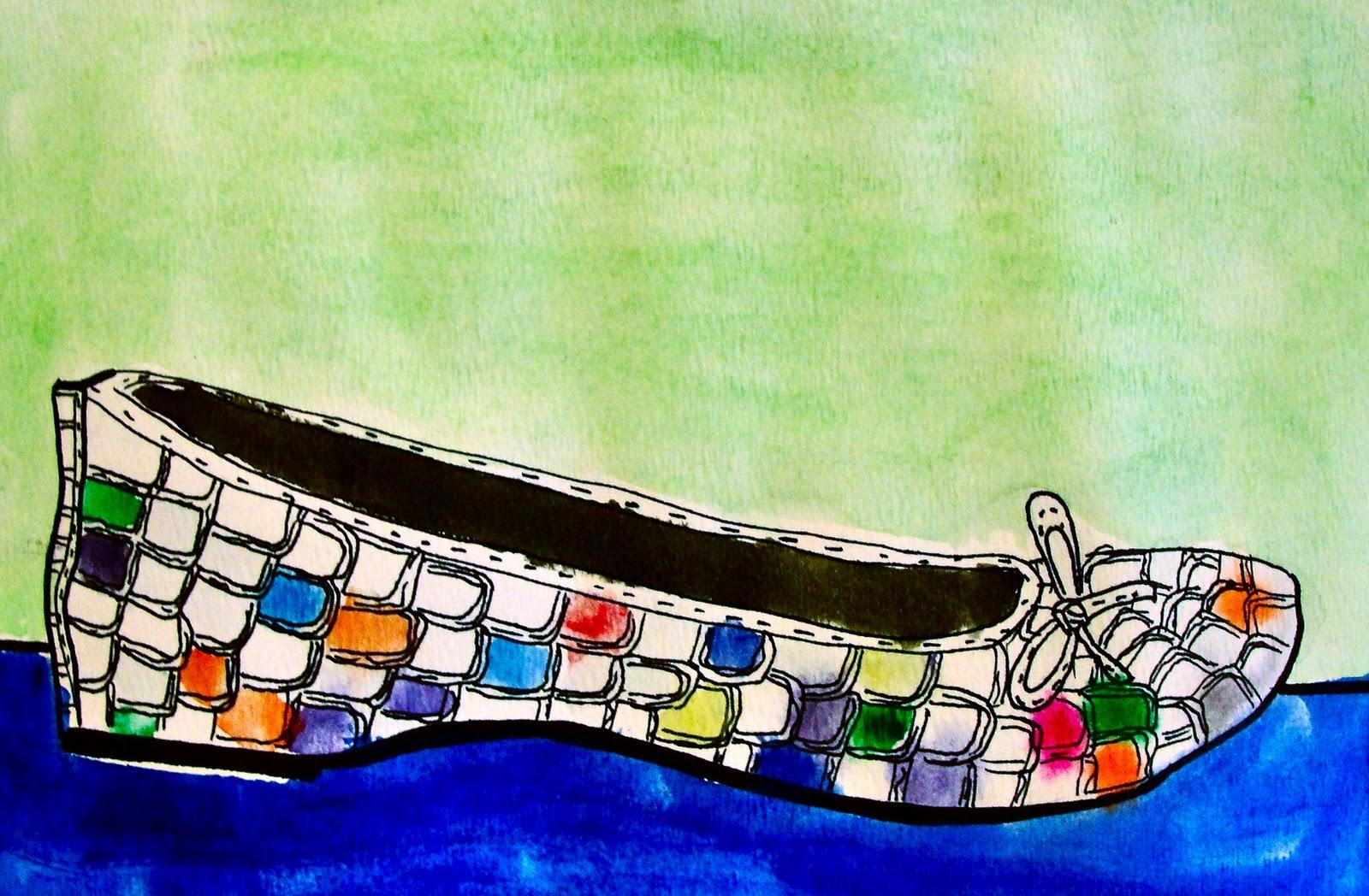 Contour Line Drawing Shoes Lesson Plan : Da vinci's wings: 5th grade contour & construction line shoe watercolors