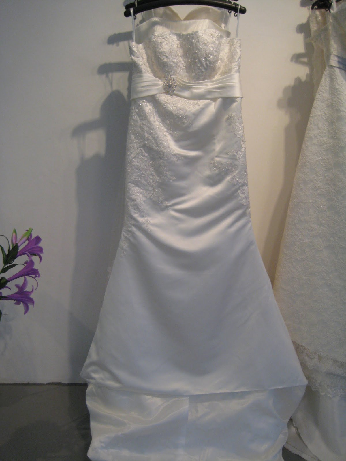 MY BRIDAL GOWN Plus Size Satin Empire Waist Silver Thread