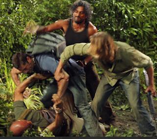 John Locke Jack Shephard Shepherd James Sawyer Ford Sayid Jarrah Terry O'Quinn Matthew Fox Josh Holloway Naveen Andrews Lost Island Fight vs.