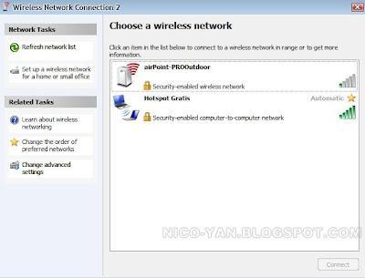 Tampilan jaringan hotspot yang tersedia di Windows XP