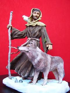 Orme Magiche Scultura San Francesco statuetta santo fatto a mano santi pastori statuine presepe artigianali personalizzate