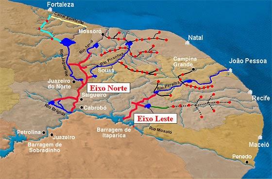 Resultado de imagem para A canalização do Rio da Integração Nacional Atual obra de transposição se divide em dois eixos: o leste, inaugurado em março, e o norte, em fase final de construção. Canais
