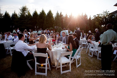 guests seated outdoors during wedding reception at lake oconnee