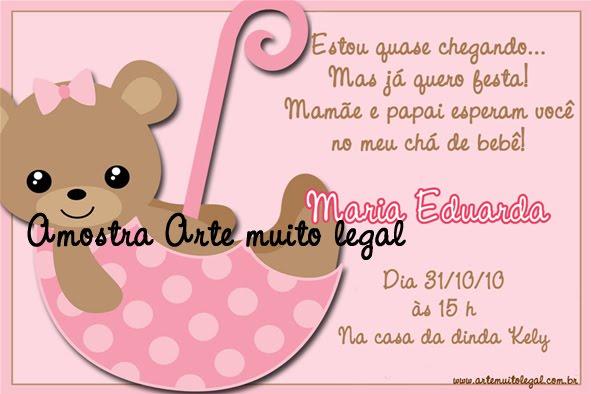 Convites  para chá de bebê  ARTE MUITO LEGAL