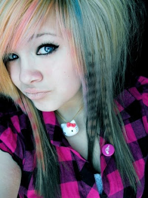 Black Hair Pink Bangs. Scene hair is generally lack