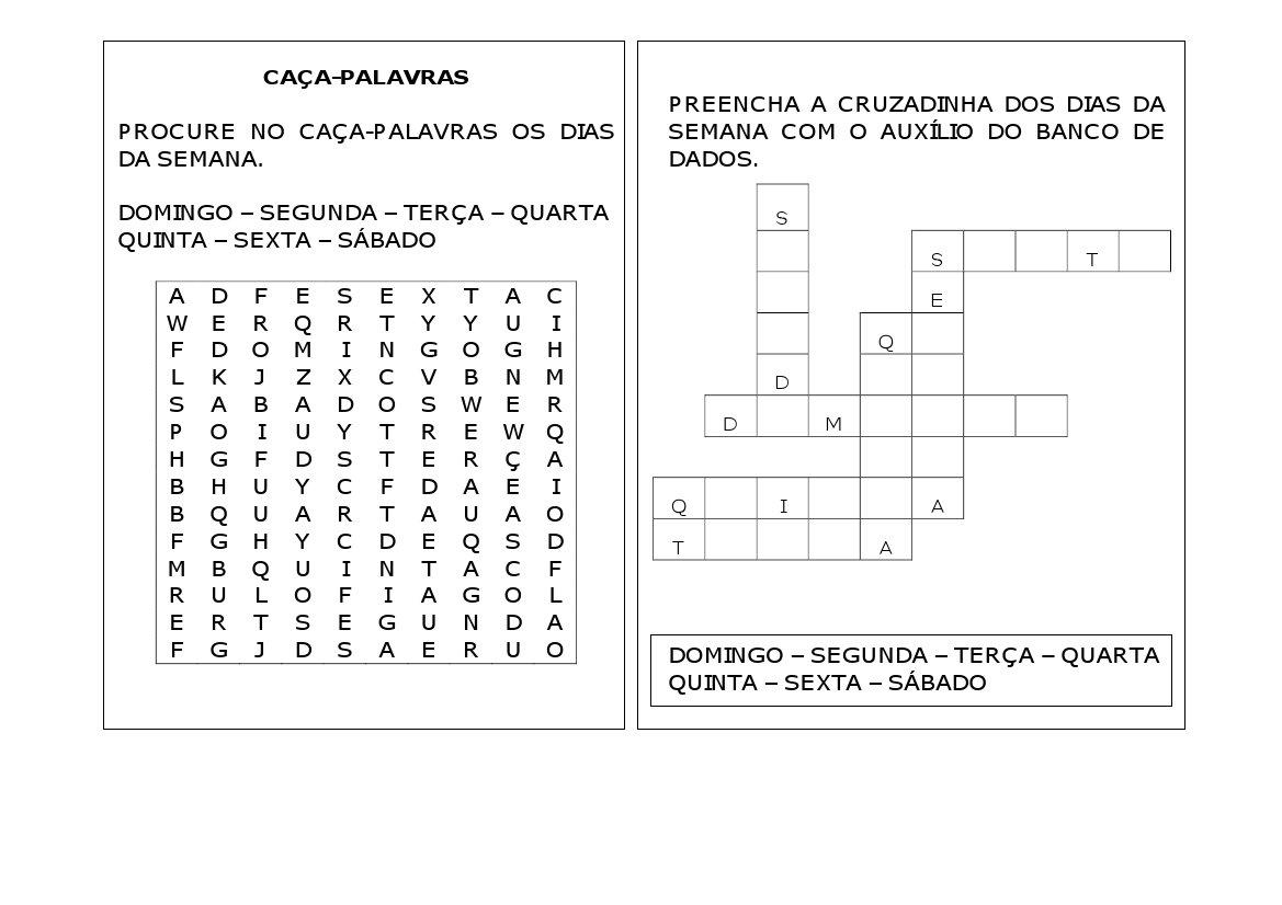 Preferência VARAL DE ATIVIDADES: CALENDÁRIO - DIAS DA SEMANA EM12